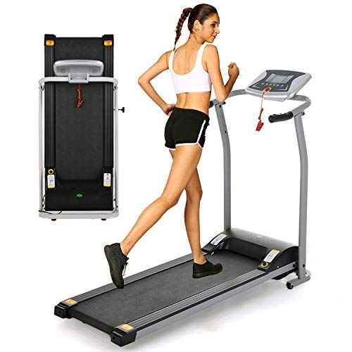 OppsDecor Folding Electric Treadmill for Home Running Machine Fitness Exercise Machine Power Motorized with Pulse Grip and Safety Key (Silver)