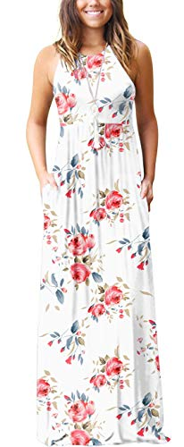 GRECERELLE Women's Casual Loose Long Dress Sleeveless Floral Print Maxi Dresses with Pockets White-L