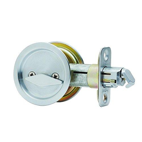 Kwikset 335 32 RND PCKT DR LCK Round Bed/Bath Pocket Door Lock, Polished Stainless Steel