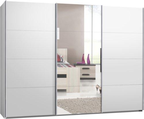 Schwebetürenschrank, Kleiderschrank, Sofort lieferbar, ca. 300 cm, Weiss mit Spiegel, Schiebetürenschrank