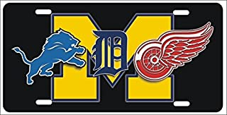 ATD Detroit Michigan Sport Teams Combined Logos Novelty Front License Plate Lions, Tigers, Red Wings Decorative Car Tag can Also be Used as a Door Sign