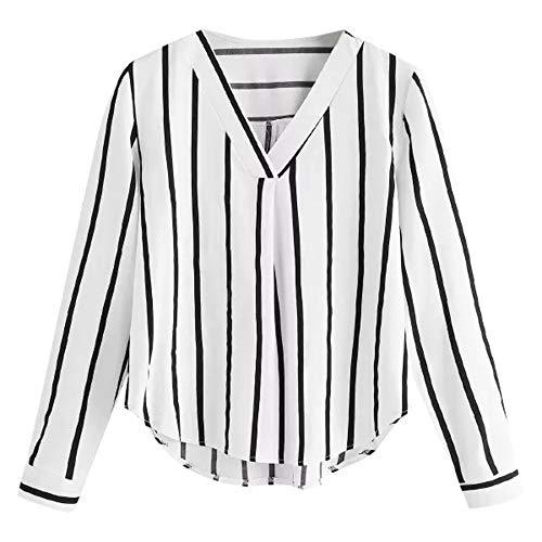 ESAILQ Damen Basic V-Ausschnitt Kurzarm T-Shirt Falten Tops mit Knopf(L,Grün)
