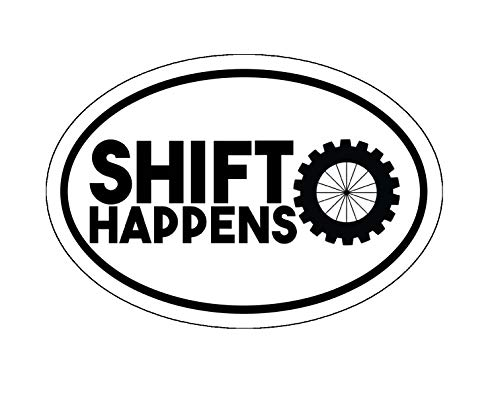 WickedGoodz Oval Mountain Biking Shift Happens Vinyl Decal - MTN Bike Bumper Sticker - Perfect Cyclist Gift