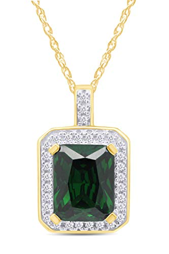Jewel Zone US Simulated Green Emerald & White Sapphire CZ Pendant Necklace in 14k Gold Over Sterling Silver