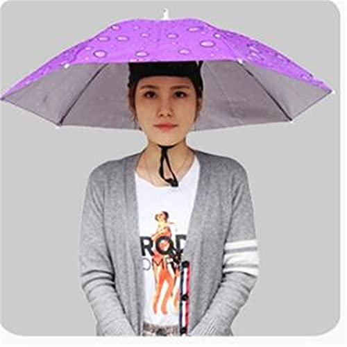 LIZHOUMIL Paraguas Parasol montado en la Cabeza de 77cm Sombrero de Pesca Paraguas Protector Solar Lluvia Paraguas de Pesca al Aire Libre Gran Gota de Lluvia Violeta 77cm