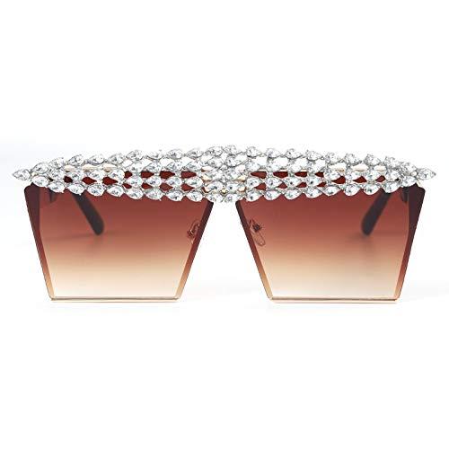 ShSnnwrl Único Gafas de Sol Sunglasses Gafas De Sol Cuadradas De Lujo con Diamantes, Mujeres, Hombres, Parte Superior Plana, Cris