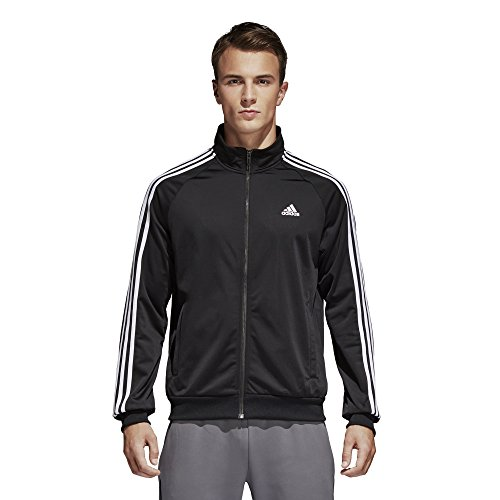 adidas Men's Essentials 3-Stripe Tricot Track Jacket, Black/White, Small