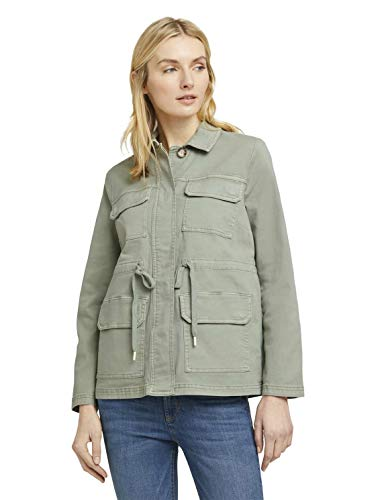 TOM TAILOR Damen Jacken Utility Feldjacke mit Tunnelzug Prairie Grass Green,M,15615,7000