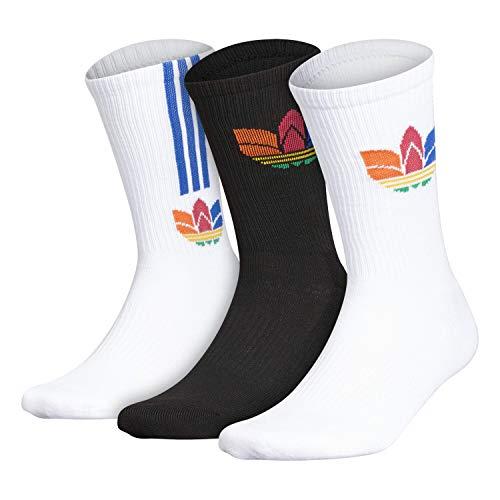 adidas Originals Calcetines para hombre mixtos con acolchado (3 pares, 3 unidades), Hombre, Calcetines de cuello redondo, 977922, Blanco/Negro/Naranja Energía, Large