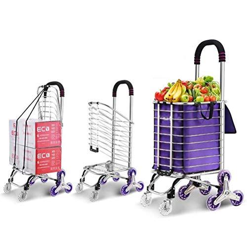 ZGYQGOO Faltbarer Einkaufswagen, 3-Rad-Treppensteigen aus Aluminiumlegierung mit Abdeckung (sitzbar) Körpergewicht 220 Ib