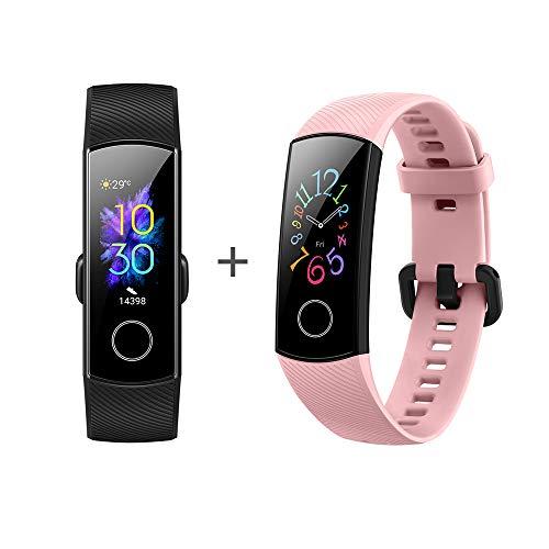 [2 Stück] Honor Band 5 Smart Fitness Armband 0,95 Zoll AMOLED-Display 5ATM wasserdichte (Schwarz + pink)