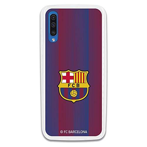 Funda para Samsung Galaxy A70 Oficial del FC Barcelona - Escudo Franjas para Proteger tu móvil. Carcasa para Samsung de Silicona Flexible con Licencia Oficial de FC Barcelona