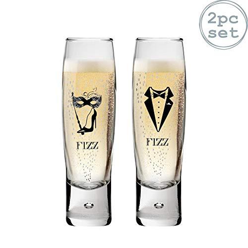 Durobor Flûtes à champagnes - Motif Fizz Femme/Homme - 150 ML - Lot de 2