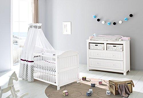 Pinolino Set Nina Large, 2 pièces, lit enfant (140 x 70 cm) et largeur Commode avec table à langer, Épicéa massif, lasuré blanc (Réf. 09 16 17 B)