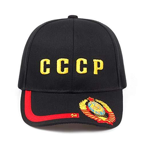 Casquette de Baseball Haute Qualité Broderie Nouveau CCCP Emblème National Casquette De Baseball Unisexe Noir Rouge Coton Style Golf Cap Os Noir