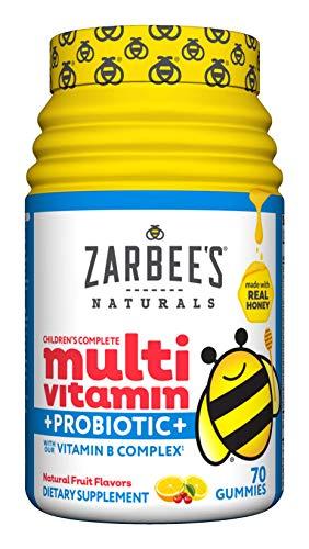 Zarbee's Naturals Children's Complete Multivitamin + Probiotic Gummies, Natural Fruit Flavors, 70 Gummies