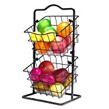 Fruit Basket for Kitchen 2 Tier Produce Storage Holder for Countertop Metal Multipurpose Rack for Veggies, K-cup, Potato, Onion, Snacks-Bronze