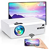 Proiettore WiFi, WiMiUS Mini Videoproiettore Portatile da 5800 Lumen Supporto 1080P Full HD HiFi Compatibile con Smartphone / PC / AV / TV Stick / PS4