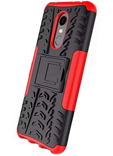 XINFENGDI Funda Xiaomi Redmi 5Plus, Carcasa Dura Protección 360° Cubiertas Móviles Anticaídas Resistente Arañazos TPU Caso Protector para Xiaomi Redmi 5Plus con Soporte de Pie - Rojo