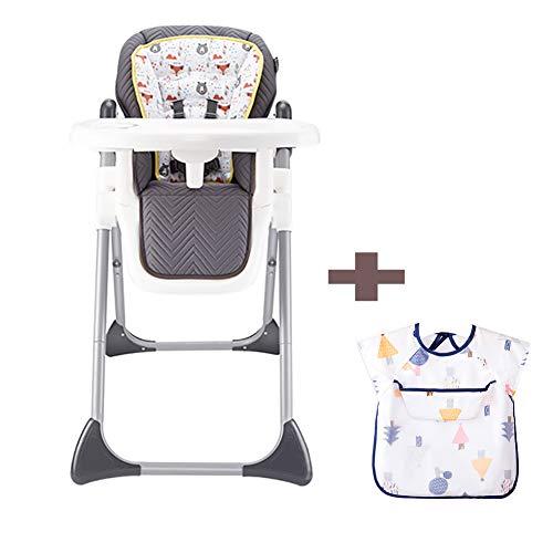 Chaise Haute pour bébé, bébé ménage PU Chaise de Salle à Manger Pliante et réglable à Double Couche, adaptée aux bébés de 0 à 3 Ans + Tablier pour bébé-Animal