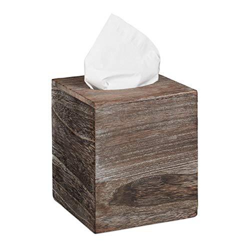 Relaxdays Tücherbox Würfel, Shabby, Taschentuchbox mit Schiebeboden, Tissue Box, quadratisch, HBT: 16,5x14x14 cm, braun