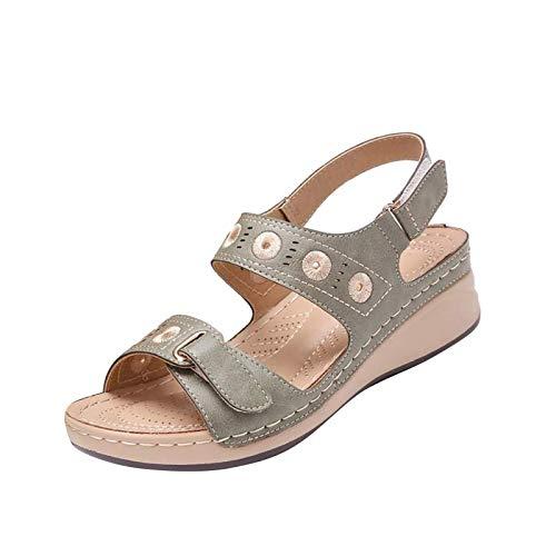 Sandalen Wedge Damen Shoes mit Klettverschluss Sommer Outdoor Riemchensandalen Frauen Böhmische Sandalen Riemchen Sandale Freizeitschuhe Sommerschuhe Strandsandale (grau, 38)