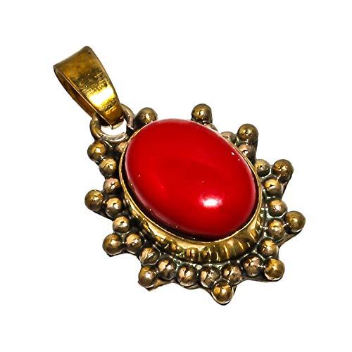 SILVERQUEEN Colgante de joyería de coral rojo hecho a mano con piedras preciosas de 2,8 cm