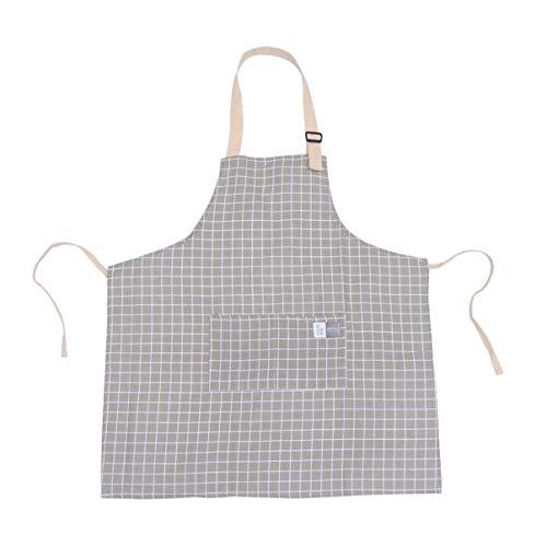 UPKOCH 1pc Baumwolle und Leinen Schürzen kariert verstellbare Halfter Schürze mit Taschen Kochkittel (grau)