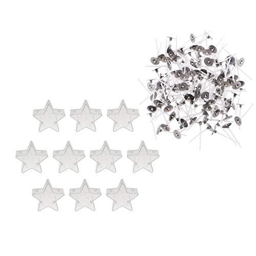 P Prettyia Teelicht Klar Plastikbecher, 20 Tassen, Sternförmige Kerzenherstellung Formen, 200 Kerzen Dochte Für Handgemachte Getrocknete Blumen Kerzen, Jelly Gel