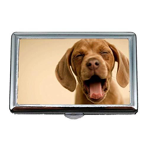 14 Zigaretten Box Aufbewahrungskoffer, süße lustige Mops Hund Hund und Katze, Kreditkarteninhaber Brieftasche
