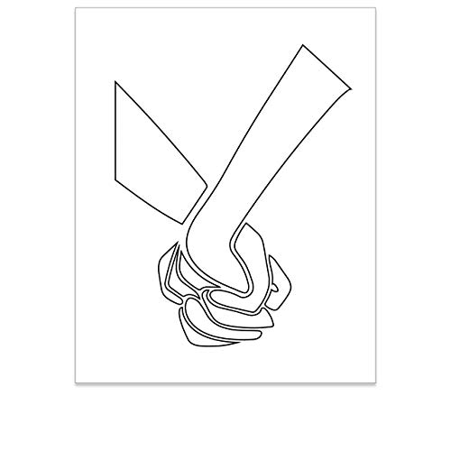 One Line Art Wall Decor - Minimalist Wall Art - Modern Room Art - Aesthetic Pictures - Black and White Boho Print - Minimalistic Abstract Poster - Couple Holding Hands Artwork - 8x10 - UNFRAMED