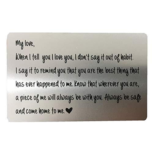 Engraved Wallet Card Insert, Personalized Stainless Steel Wallet Love Note Insert, Love Message,...