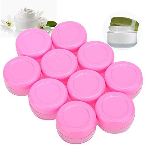 Tarro de crema de 20 piezas, recipientes de muestra vacíos, botellas de cosméticos recargables para cosméticos y loción de crema facial, (tapa rosa de 10 g/pc)
