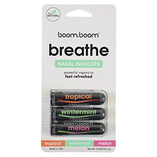 Aromatherapy Nasal Inhaler (3 Pack) by BoomBoom   Enhances Breathing + Boosts Focus   Breathe Vapor Stick Provides Fresh Cooling Sensation   Made with Essential Oils + Menthol (Variety Pack)