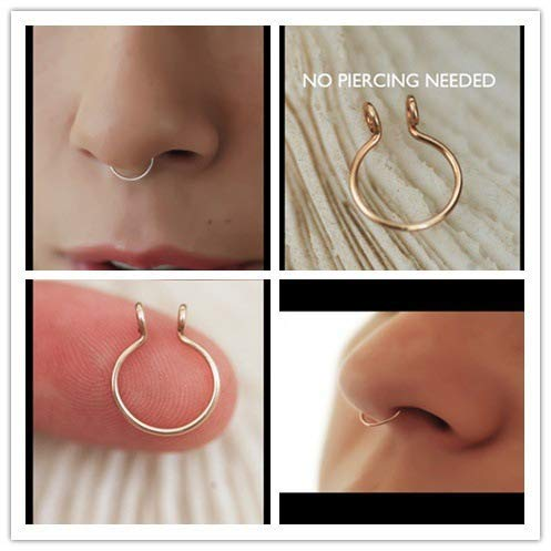 Duan Fake Septum Nose Ring Fake Nose Rings Gold and Silver Fake Body Jewelry No Piercing Needed Set of Two Unisex C Shape Nose Ring Stud