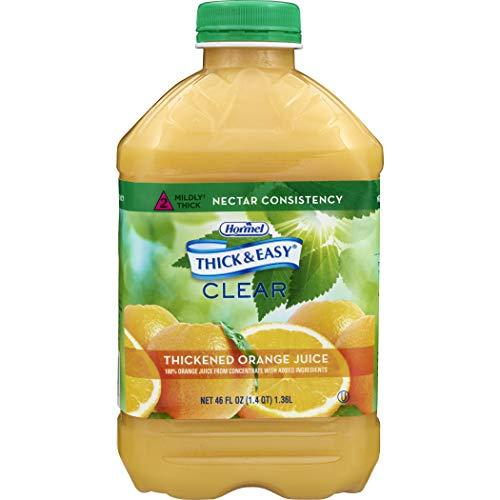 Thick & Easy Thickened Beverage 46 oz. Bottle Orange Juice Flavor Ready to Use Nectar Consistency, 42161 - Case of 6