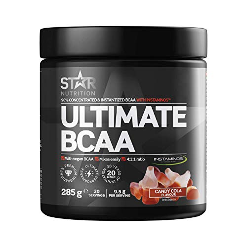 Star Nutrition | Ultimate BCAA Powder | BCAAS Amino Acids 4 1 1 Free of Carbs & Sugar Suitable for Vegans | Candy Cola Flavor | 285 Gr