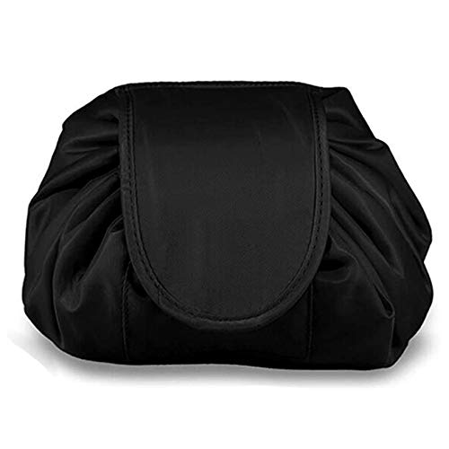 SYN-GUGAI Cosmetic Case Lazy Drawstring Make Up Bag Portable Large Travel Cosmetic Bag Large Beauty Makeup Nail Art Cosmetics Box Vanity Case Jewellery Storage Holder For Women Girl,Pure black