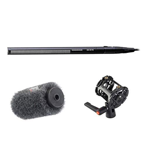 Sennheiser MKH-416 Short Shotgun Interference TubeMicrophone - Bundle with Rycote Softie Long Hair Wind Diffusion, 18cm Long with Medium Hole, Rycote Universal Shotgun Mount for Cameras/Boom Poles