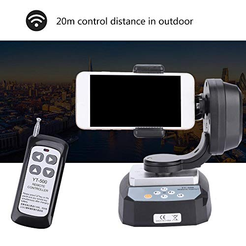 Exliy Inclinazione panoramica Telecomando, YT-500 Testa inclinata panoramica motorizzata per Fotocamera e Smartphone estremi, Testa treppiede Video motorizzata Automatica, Max.Caricare 500 g