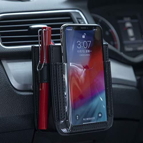 Bolsillo de ventilación de coche, bolsa de almacenamiento para teléfono móvil, bolsa de almacenamiento multifuncional para teléfonos inteligentes, bolígrafos, monedas, mapas, negro, 10×12×5 MM