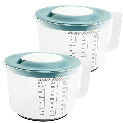 Messbecher Rührschüssel, 2 Stück, mit Deckel, ca. 2 Liter. aus lebensmittelechtem Kunststoff, Hergestellt in der EU, Deckelfarbe: grau