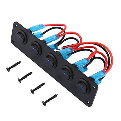 Heaviesk Schalterpanel 5 Gang 12V Wippschalter für Auto-Marine-Leistungsschalter Überlastgeschütztes LED-Licht Wippschalter Panel Circuit