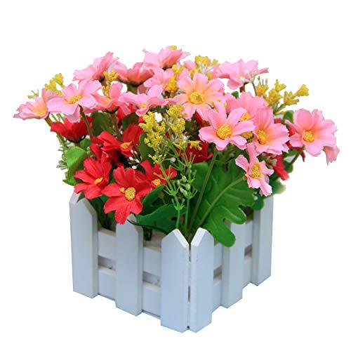 Flikool Artificielle Plantes Potted Plant Faux Artificiel Fleur Chrysantheme Truque Bonsai L'herbe Verte Simulation Verdure Arbre avec Cloture 10*10*17cm - Rose