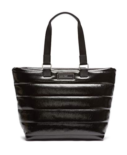 Calvin Klein Damen Jaina Nylon Double Handle Tote Tragetasche, schwarz/Silber, Einheitsgröße