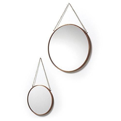 Kave Home - Espejo de pared Icon de color latón, 2 piezas, redondo, diámetro de 41 cm, diámetro de 26 cm, de acero con mango.