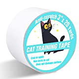 Polarduck Anti Cat Scratch Tape, 3 inches x 20 Yards Cat Training Tape, 100% Transparent Clear Double Sided Cat Scratch Deterrent Tape, Furniture Protector for Couch, Carpet, Doors, Pet & Kid Safe