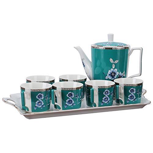 fanquare 8 Piezas Juegos de Té de Porcelana Inglesa, Juego de Café de Cerámica con Flores Verdes Vintage para Adultos, Una Tetera, Juego de 6 Tazas de Café con Bandeja