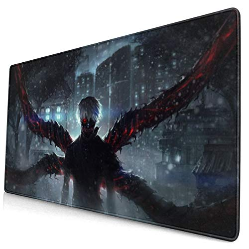 Anime Tokyo Ghoul Kaneki Ken 15.8x29.5 in Large Gaming Mouse Pad Desk Mat Long Non-Slip Rubber Stitched Edges