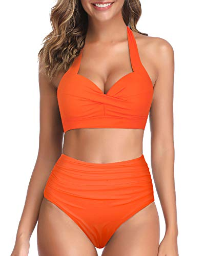 Tempt Me Women's Vintage Swimsuits Orange Retro Halter Ruched High Waist Bikini M